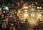 book bookshelf bottle chair desk door fantasy hat indoors lantern no_humans original plant room scenery stairs window