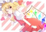 1girl absurdres ascot bangs blonde_hair blush breasts brown_eyes collar collared_shirt crystal eyebrows_visible_through_hair eyes_visible_through_hair flandre_scarlet frills hair_between_eyes hand_up hat hat_ribbon heart highres jewelry looking_to_the_side medium_breasts mob_cap multicolored multicolored_wings one_eye_closed one_side_up open_mouth orange_ribbon pink_background pink_heart puffy_short_sleeves puffy_sleeves red_skirt red_vest ribbon shirt short_hair short_sleeves skirt solo standing striped striped_background touhou vest white_background white_headwear white_shirt wings wrist_cuffs yellow_neckwear youka1258