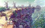 1other city clouds fantasy house junpei_(juntonanotukunanika) original road scenery sky stairs tree windmill