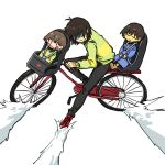 3others akira akira_slide antenna_hair bangs bicycle bicycle_basket black_pants blue_sweater blush_stickers brown_hair chara_(undertale) child_safety_seat colored_skin deltarune expressionless frisk_(undertale) green_sweater ground_vehicle highres kinuko21b kris_(deltarune) long_sleeves multiple_others pants red_footwear shaded_face shoes short_hair simple_background smile sneakers striped striped_sweater sweater undertale white_background yellow_skin |_|
