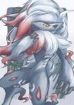 absurdres bamboo claws closed_mouth commentary_request fangs fangs_out furry highres hisuian_zoroark looking_at_viewer pokemon pokemon_(creature) smile solo takekasa_(sgmn5275) white_fur yellow_eyes