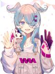 1girl anatom_orange blue_eyes blue_hair confetti dragon dragon_girl elira_pendora fangs gloves grey_gloves grey_overalls grey_sweater hair_ornament hair_over_one_eye hands_up head_wings highres long_hair long_sleeves looking_at_viewer mole multicolored_hair nijisanji nijisanji_en one_eye_covered open_mouth pikl_(elira_pendora) simple_background single_glove sleeves_past_wrists slit_pupils smile solo string_of_flags sweater symbol-only_commentary two-tone_hair upper_body virtual_youtuber white_background white_hair x_hair_ornament