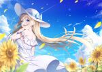 1girl absurdres aqua_eyes back bangs blonde_hair blue_sky breasts clouds commentary_request day dress eyebrows_visible_through_hair flower frilled_dress frills hand_in_hair hat highres long_hair looking_at_viewer looking_to_the_side medium_breasts original outdoors petals shoulder_blades sideboob sidelocks sky smile solo standing summer sun_hat sundress sunflower takemura_kou white_dress white_headwear