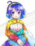 1girl ahoge blue_eyes blue_hair blush commentary_request cowboy_shot dress eyebrows_visible_through_hair hairband highres long_sleeves looking_at_viewer multicolored multicolored_clothes multicolored_dress multicolored_hairband open_mouth patchwork_clothes pote_(ptkan) pouch rainbow_gradient short_hair solo tenkyuu_chimata touhou unzipped zipper