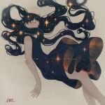 1girl absurdres aki_a0623 bangs black_dress black_hair dress floating floating_hair highres long_hair original sleeveless star_(symbol) starry_sky_print very_long_hair