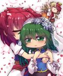 3girls =_= animal_on_head asymmetrical_hair bangs basket bird bird_on_head bird_wings black_skirt blonde_hair blue_vest blush breasts bridal_veil chick closed_eyes commentary_request feathered_wings flower frilled_skirt frilled_sleeves frills green_eyes green_hair hair_bobbles hair_flower hair_ornament headwear_removed highres hug hug_from_behind jewelry large_breasts long_sleeves multicolored_hair multiple_girls niwatari_kutaka obi on_head onozuka_komachi orange_skirt petals puffy_short_sleeves puffy_sleeves red_neckwear red_ribbon redhead ribbon ribbon-trimmed_skirt ribbon_trim ring rose_petals sash shiki_eiki shiny shiny_hair shirt short_hair short_sleeves simple_background skirt sparkle spider_lily standing touhou triangle_mouth two-tone_hair unime_seaflower veil vest wedding_band white_background white_shirt wide_sleeves wife_and_wife wings yuri