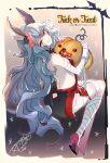 akagi_rio animal_ears backless_outfit bandaged_arm bandaged_leg bandages bare_back blue_hair breasts earrings erune ferry_(granblue_fantasy) granblue_fantasy halloween high_heels jewelry k-o'-lantern looking_at_viewer mummy_costume pumpkin rabbit_ears sideboob single_earring wavy_hair