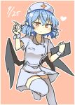 1girl alternate_costume bangs bat_wings black_wings closed_mouth dated eyebrows_visible_through_hair heart holding holding_syringe looking_at_viewer matsu_kitsune nurse orange_background orange_eyes pointy_ears remilia_scarlet short_sleeves simple_background solo syringe thigh-highs touhou v-shaped_eyebrows white_headwear white_legwear wings wrist_cuffs