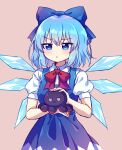 1girl :< bangs blue_bow blue_dress blue_eyes blue_hair bow caramell0501 cirno closed_mouth collared_shirt dress eyebrows_visible_through_hair hair_bow highres holding ice ice_wings long_dress neck_ribbon pinafore_dress puffy_short_sleeves puffy_sleeves red_neckwear ribbon shirt short_hair short_sleeves simple_background squid stuffed_animal stuffed_toy symbol-only_commentary touhou v-shaped_eyebrows white_shirt wings