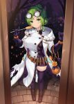 1girl alternate_costume bangs belt blush boots breasts brown_footwear cait_aron candy closed_mouth doorway dress earrings fire_emblem fire_emblem:_the_sacred_stones fire_emblem_heroes food full_body gloves goggles goggles_on_head green_eyes green_hair halloween halloween_costume highres jack-o'-lantern jack-o'-lantern_earrings jewelry l'arachel_(fire_emblem) large_breasts lollipop looking_at_viewer official_alternate_costume ponytail purple_dress purple_gloves purple_legwear skindentation smile solo standing test_tube thigh-highs zettai_ryouiki