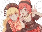 2girls bangs bare_shoulders belt black_choker black_neckwear black_shirt blonde_hair blush bow bowtie breasts brown_belt brown_dress brown_headwear chain chinese_clothes choker closed_mouth clothes_writing crescent dress eyebrows_visible_through_hair eyes_visible_through_hair gold_chain hair_between_eyes hands_up hat heart heart_print hecatia_lapislazuli highres junko_(touhou) long_hair long_sleeves looking_at_viewer medium_breasts medium_hair multicolored multicolored_clothes multicolored_skirt multiple_girls off_shoulder open_mouth phoenix_crown pink_skirt plaid plaid_skirt polos_crown pom_pom_(clothes) red_eyes red_headwear red_heart red_skirt red_vest redhead shirt simple_background skirt smile t-shirt tabard touhou v vest wasabisuke wavy_hair white_background wide_sleeves yellow_background yellow_bow