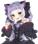 1girl :d absurdres animal_ear_fluff animal_ears bangs black_dress black_ribbon blush cat_ears commentary_request dress fang frilled_dress frilled_ribbon frilled_sleeves frills hair_ribbon highres hololive long_hair long_sleeves looking_at_viewer murasaki_shion noi_mine open_mouth paw_pose ribbon short_eyebrows silver_hair simple_background skin_fang smile solo thick_eyebrows twintails upper_body v-shaped_eyebrows virtual_youtuber white_background wide_sleeves yellow_eyes