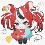 1girl :3 animal_ears black_hair blue_eyes blush_stickers chibi colored_tips dice_hair_ornament hair_ornament hakos_baelz highres hololive hololive_english looking_at_viewer mouse_ears mouse_girl mouse_tail mr._squeaks_(hakos_baelz) multicolored_hair redhead ribbon run_(run_level_18) solo tail tail_ornament tail_ribbon virtual_youtuber white_hair