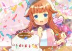 1girl :d bangs bare_shoulders birthday_cake blue_eyes blunt_bangs blurry blurry_background blush breasts brown_hair cake clothing_cutout commission confetti copyright_request depth_of_field eyebrows_visible_through_hair food fruit hair_flaps hands_up happy_birthday heart jacket kou_hiyoyo long_hair long_sleeves looking_at_viewer open_clothes open_jacket pennant pink_jacket shirt shoulder_cutout skeb_commission small_breasts smile solo strawberry string_of_flags upper_body very_long_hair white_headwear white_shirt