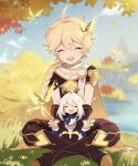 1boy 1girl aether_(genshin_impact) ahoge bangs blonde_hair boots braid bug butterfly closed_eyes clouds day dress earrings genshin_impact grass hair_between_eyes hair_ornament jewelry long_hair long_sleeves on_ground open_mouth outdoors paimon_(genshin_impact) pants short_sleeves single_braid single_earring sitting sky sui25jiyuu tree water white_dress white_hair