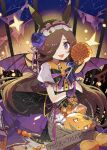 1girl :d animal_ears bangs basket black_bow black_skirt bow brooch brown_hair candy center_frills collared_shirt commentary_request demon_wings eyebrows_visible_through_hair fangs food frills hair_over_one_eye halloween holding holding_candy holding_food holding_lollipop horse_ears jack-o'-lantern jewelry lollipop long_hair looking_at_viewer make_up_in_halloween!_(umamusume) puffy_short_sleeves puffy_sleeves purple_wings rice_shower_(umamusume) shadowsinking shirt short_sleeves skirt smile solo sparkle striped striped_bow swirl_lollipop umamusume very_long_hair violet_eyes white_shirt wings