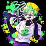 1boy alternate_universe boyfriend_(friday_night_funkin') friday_night_funkin' green_hair holding holding_microphone jak_soul microphone solo sunglasses tongue_out yellow_eyes