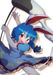 absurdres animal_ears blue_hair blush dress drop_shadow earrings highres jewelry mallet mochi moon moon_print one-hour_drawing_challenge polyhedron2 rabbit_ears red_eyes ribbon seiran_(touhou) simple_background socks star_(symbol) star_print touhou twintails