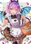 1girl :d apron bangs black_dress black_gloves black_hairband black_legwear blush candy candy_cane claw_pose commentary confetti demon_horns demon_tail demon_wings dress ear_piercing english_commentary eyebrows_visible_through_hair facial_mark fake_horns fingerless_gloves fishnet_legwear fishnets food frilled_apron frilled_dress frilled_skirt frills garter_straps gloves green_eyes green_nails green_skirt hairband halloween halloween_bucket highres hololive horns looking_at_viewer maid_apron minausa multicolored multicolored_hair multicolored_nails nail_polish pantyhose piercing pink_hair purple_hair red_nails simple_background skirt smile solo tail tail_ornament tail_piercing thigh-highs thighhighs_over_pantyhose tokoyami_towa two-tone_hair virtual_youtuber white_apron wings