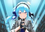 1girl 6mint absurdres beret black_gloves blue_eyes blue_hair blue_nails blush commentary_request crying crying_with_eyes_open gloves hat highres holding holding_microphone hololive hoshimachi_suisei looking_at_viewer microphone nail_polish partially_fingerless_gloves side_ponytail solo tears upper_body virtual_youtuber