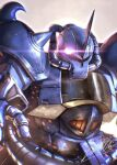 embers glowing glowing_eye gouf gundam holding holding_whip horns mecha mobile_suit mobile_suit_gundam no_humans one-eyed science_fiction signature single_horn solo spikes totthii0081 upper_body violet_eyes