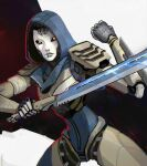 1girl absurdres apex_legends ash_(titanfall_2) black_sclera clenched_hand colored_sclera embers english_commentary glowing glowing_eyes highres holding holding_sword holding_weapon hood hood_up humanoid_robot looking_to_the_side no_humans peter_chai science_fiction simulacrum_(titanfall) solo sword weapon yellow_eyes