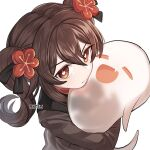 1girl :d =_= artist_name bangs brown_eyes brown_hair brown_jacket closed_eyes closed_mouth commentary english_commentary eyebrows_visible_through_hair fang flower flower-shaped_pupils genshin_impact ghost hair_between_eyes hair_flower hair_ornament hu_tao_(genshin_impact) hug jacket long_hair long_sleeves looking_at_viewer red_flower rktsm simple_background smile solo symbol-shaped_pupils transparent twintails upper_body v-shaped_eyebrows white_background younger