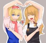 alice_margatroid bangs black_vest blonde_hair blue_dress blue_eyes bow braid breasts closed_eyes closed_mouth commentary_request cookie_(touhou) dare_who_zzzz dress eyebrows_visible_through_hair grey_background hair_bow hairband heart_arms_duo ichigo_(cookie) kirisame_marisa long_hair looking_at_viewer medium_breasts open_mouth puffy_short_sleeves puffy_sleeves red_bow red_hairband red_necktie shirt short_hair short_sleeves side_braid simple_background single_braid sleeveless sleeveless_dress smile star_(symbol) suzu_(cookie) touhou upper_body vest white_shirt