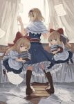 3girls alice_margatroid apron arms_up bangs blonde_hair blue_dress blue_eyes book book_stack boots brown_footwear capelet commentary_request curtains dress eyebrows_visible_through_hair floating from_side full_body grimoire_of_alice hair_ribbon hairband holding holding_book hourai_doll lolita_hairband long_hair looking_at_viewer looking_back multiple_girls ookashippo pages puffy_short_sleeves puffy_sleeves red_neckwear ribbon sash shanghai_doll shirt short_hair short_sleeves standing touhou waist_apron white_capelet white_shirt window wooden_floor