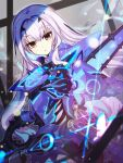 1girl armor blue_armor breasts fairy_knight_lancelot_(fate) fate/grand_order fate_(series) faulds highres long_hair looking_at_viewer open_mouth ripodpotato sidelocks small_breasts solo white_hair yellow_eyes