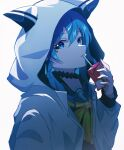 1girl animal_hood apple_juice bangs black_choker blue_eyes blue_hair box choker drinking drinking_straw_in_mouth eyebrows_visible_through_hair hair_between_eyes highres holding holding_box hololive hood hood_up hooded_jacket hoshimachi_suisei jacket juice_box long_hair long_sleeves looking_at_viewer open_clothes open_jacket parted_lips pension_z sideways_glance simple_background solo star_(symbol) star_in_eye symbol_in_eye upper_body virtual_youtuber white_background white_jacket