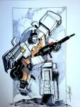 autobot commission ectotron english_commentary ghostbusters gun highres holding holding_gun holding_weapon livioramondelli looking_at_viewer marker_(medium) mecha no_humans science_fiction signature solo standing traditional_media transformers weapon