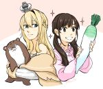 2girls blonde_hair bokukawauso braid brown_hair crown dated dress food french_braid headband holding holding_food holding_vegetable jewelry kantai_collection long_hair long_sleeves mini_crown multiple_girls necklace off-shoulder_dress off_shoulder pink_dress radish real_life signature simple_background sweater twintails uchida_shuu vegetable warspite_(kancolle) yamada_rei_(rou)