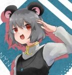 1girl animal_ears bangs capelet character_name commentary_request cookie_(touhou) crystal dare_who_zzzz drop_shadow eyebrows_visible_through_hair grey_hair grey_vest jewelry long_sleeves looking_to_the_side mouse_ears mouse_girl nazrin nyon_(cookie) open_mouth pendant red_eyes shirt short_hair smile solo touhou upper_body vest white_capelet white_shirt