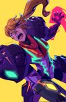 1girl angry arm_cannon blonde_hair claws fangs furious gravity_suit highres looking_ahead maclunkey2012 metroid metroid_dread ponytail power_armor red_eyes samus_aran sidelocks spoilers twitter_username weapon yellow_background