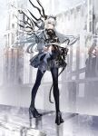 1girl armor bangs bird black_legwear black_skirt building chain closed_mouth commentary_request expressionless fantasy from_behind full_body grey_eyes high_heels highres long_hair looking_at_viewer looking_back nanaponi original outdoors pauldrons shadow shoulder_armor skirt solo standing thigh-highs tiara vambraces white_hair