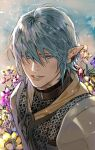 1boy armor bangs blue_eyes blue_hair brown_collar chainmail collar earclip elezen elf final_fantasy final_fantasy_xiv flower hair_over_eyes haurchefant_greystone jya looking_at_viewer male_focus parted_lips pauldrons pointy_ears portrait short_hair shoulder_armor smile solo