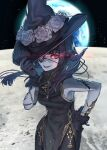 1girl absurdres au_ra bangs black_gloves black_horns breasts china_dress chinese_clothes colored_skin dragon_horns dress earth_(planet) eyepatch final_fantasy final_fantasy_xiv gloves grey_skin hand_on_headwear hand_on_hip hat hide_(hideout) highres horns long_hair looking_at_viewer medium_breasts moon pelvic_curtain planet red_eyes scales sleeveless solo space witch_hat