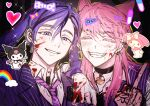 2boys ^_^ animal_ears bangs bell black_collar black_hair blood blood_on_face blood_on_hands closed_eyes collar dog_boy dog_ears earrings grin haitani_ran hand_on_another's_shoulder hand_up heart inmate081486 jacket jewelry kuromi long_hair male_focus middle_finger multicolored_hair multiple_boys my_melody neck_tattoo necktie onegai_my_melody pink_hair purple_hair purple_jacket purple_neckwear purple_vest sanzu_haruchiyo scar scar_on_face shirt short_hair sketch smile tattoo tokyo_revengers two-tone_hair upper_body vest violet_eyes white_shirt