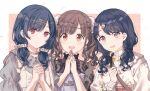 3girls bag bangs blue_hair border brown_eyes brown_hair closed_mouth dress egg_hair_ornament eyebrows_visible_through_hair fangs food-themed_hair_ornament fukumaru_koito gocoli grey_shirt hair_behind_ear hair_ornament hair_scrunchie hairclip highres idolmaster idolmaster_shiny_colors jewelry long_hair long_sleeves looking_at_viewer low_twintails morino_rinze multiple_girls necklace open_mouth outside_border own_hands_clasped own_hands_together pinafore_dress red_eyes scrunchie shirt short_twintails shoulder_bag sidelocks skin_fangs smile sonoda_chiyoko sweater twintails upper_body white_border