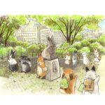 backpack bag berry_jou building city highres no_humans original outdoors painting_(medium) park rabbit statue tokyo_(city) traditional_media tree watercolor_(medium)