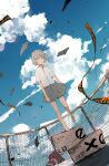 1girl absurdres aiamu_iamu arms_at_sides bangs barefoot blue_sky box cardboard_box caution_tape closed_mouth clouds cloudy_sky collared_shirt commentary_request day dutch_angle fence flat_chest flying_paper full_body grey_eyes grey_hair grey_skirt highres looking_at_viewer original outdoors paper pleated_skirt rooftop shirt short_hair short_sleeves skirt sky solo standing standing_on_one_leg traffic_cone white_shirt