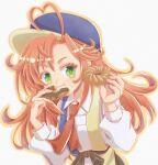 1girl ahoge asami_hoshizuki doughnut eating food green_eyes hat heart_ahoge hinaichi_(kyuuketsuki_sugu_shinu) kyuuketsuki_sugu_shinu looking_at_viewer necktie orange_hair red_neckwear solo upper_body white_background
