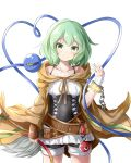 1girl absurdres alternate_costume bandaged_hand bandages bangs bare_shoulders blush breasts chain cloak closed_mouth collarbone commentary_request corset cowboy_shot cuffs eyebrows_visible_through_hair feng_ling_(fenglingwulukong) green_eyes green_hair hand_up head_tilt heart heart_of_string highres komeiji_koishi looking_at_viewer medium_hair no_hat no_headwear off_shoulder shackles shorts simple_background small_breasts smile solo standing stitches third_eye touhou white_background yu-gi-oh!