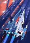 4xs_master_race artist_name canopy_(aircraft) from_above glowing gradius highres no_humans salamander_(game) science_fiction space_craft starfighter thrusters vehicle_focus vic_viper