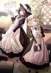 2girls :d absurdres apron black_footwear blonde_hair book bow brown_eyes brown_hair cafe chair closed_mouth cup dress fedora frills hand_on_own_chest hat hat_bow highres holding holding_book holding_clothes holding_skirt leaf long_skirt long_sleeves maid maid_apron maribel_hearn minus_(sr_mineka) mob_cap multiple_girls one_eye_closed open_mouth skirt smile table teacup teapot touhou tray usami_renko violet_eyes white_bow