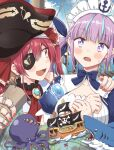 +_+ 2girls animalization any_(lucky_denver_mint) black_eyepatch blush commentary english_commentary eyepatch fingernails highres hololive houshou_marine looking_at_another maid minato_aqua multiple_girls nail_polish octopus pirate purple_hair red_nails redhead shark umisea wavy_mouth