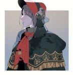 1girl bloodborne doll flower gold_trim grey_eyes grey_hair grey_ribbon hat highres looking_to_the_side plain_doll portrait red_headwear ribbon tears yashiki_(gh0st_5010)