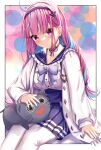 1girl ahoge anchor_hair_ornament bangs blue_choker blue_hair blue_hairband blue_nails blue_skirt blunt_bangs blush braid breasts cat choker closed_mouth commentary english_commentary fingernails french_braid frilled_shirt_collar frills hair_ornament hairband high-waist_skirt hololive jacket large_breasts leonardo_566 long_hair long_sleeves looking_at_viewer minato_aqua multicolored_hair nail_polish neko_(minato_aqua) open_clothes open_jacket pantyhose pleated_skirt purple_hair ribbon_choker sailor_collar sailor_shirt shirt sidelocks skirt smile solo streaked_hair suspender_skirt suspenders twin_braids twintails two-tone_hair underbust violet_eyes virtual_youtuber white_jacket white_legwear white_shirt