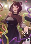 1girl :d ;d absurdres animal_ears bangs black_dress blurry blurry_foreground blush breasts commentary confetti cowboy_shot diffraction_spikes dog_ears dog_hair_ornament dress earpiece eyebrows_visible_through_hair eyelashes fangs guitar hair_ornament highres instrument inui_toko jewelry looking_at_viewer medium_breasts microphone microphone_stand music necklace nijisanji official_alternate_costume one_eye_closed open_mouth outstretched_hand purple_hair saba-kann_(kannsaba) see-through short_hair singing smile solo speaker stage_lights swept_bangs teeth upper_teeth violet_eyes virtual_youtuber wooden_wall